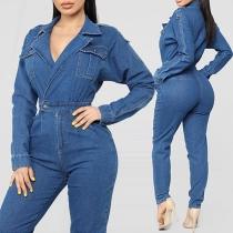 Fashion Long Sleeve High Waist Notched Lapel Denim Jumpsuit
