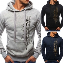 Fashion Printed Long Sleeve Men's Hoodie