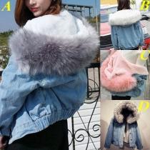 Damen Jeansjacke Kurzmantel mit Faux Fur und Webpelzfutter
