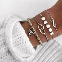 4-teilige Armbänder Set - 3 Armbandketten und 1 Perlenarmband