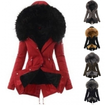 Fashion Long Sleeve Plush Lining Faux Fur Spliced Hooded Coat