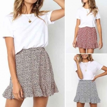 Fashion High Waist Ruffle Hem Printed Skirt