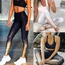 Stylische Leggings Stretchhose mit Alloverprint - für Sport Yoga Fitness Gym