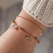 Fashion Hollow Out Flower Dragonfly Pendant Bracelet