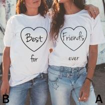 T-Shirt mit Herzprint und Logo-Print - Es lebe die Freundschaft!