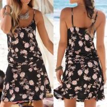 Stilvolle Sommerkleid Strandkleid mit floralem Alloverdruck