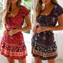 Sexy Round Neck Short Sleeve Crop Top+High Waist Skirt Floral Print Two-pieces Set