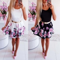Süße elegante Two-Tone-Kleid mit floralem Muster