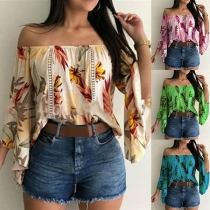 Sexy Off-shoulder Boat Neck 3/4 Trumpet Sleeve Printed Blouse