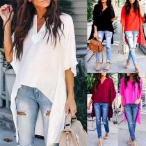Fashion Solid Color Half Sleeve V-neck High-low Hem Blouse