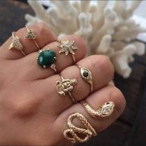 Fashion Rhinestone Inlaid Ring Set 7 pcs/Set