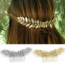 Fashion Gold/Silver Tone Leaf Shaped Head-wear