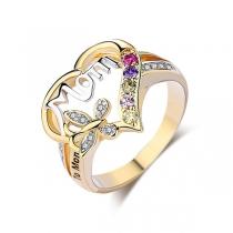 Fashion Rhinestone Inlaid Heart-Shaped Ring