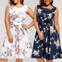 Kleid mit Blumenmuster und Bindegürtel