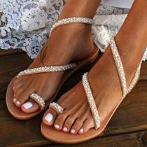 Fashion Flat Heel Rhinestone Inlaid Sandals