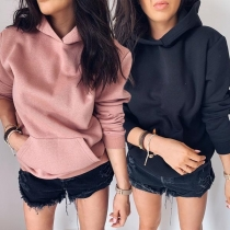 Fashion Solid Color Long Sleeve Hoodie