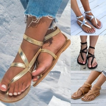 Retro Style Flat Heel Thong Sandals