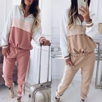 Fashion Contrast Color Hoodie + Pants Sports Suit