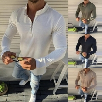 Fashion Solid Color Long Sleeve Stand Collar Man's T-shirt