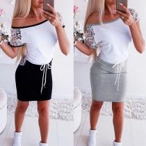Modernes Kleid mit Kurzen Ärmeln Rundem Hals Spitze und Schlanker Passform