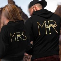 Stylische Ehepaar Hoodie Kapuzenshirt mit Logoprint