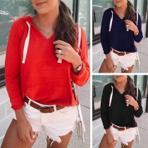 Fashion Solid Color Long Sleeve V-neck Hoodie