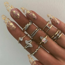 Fashion Rhinestone Inlaid Ring Set 9 pcs/Set