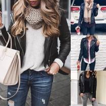Fashion Long Sleeve Side-zipper Slim Fit PU Leather Jacket