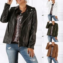 Fashion Solid Color Long Sleeve Oblique Zipper PU Leather Jacket