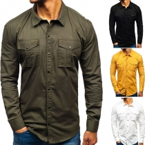 Fashion Solid Color Long Sleeve POLO Collar Man's Shirt