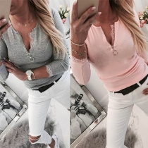 Fashion Lace Spliced Long Sleeve V-neck Slim Fit T-shirt
