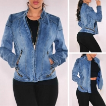 Fashion Long Sleeve Stand Collar Zipper Pocket Denim Jacket
