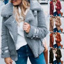 Fashion Solid Color Long Sleeve Oblique Zipper Plush Coat