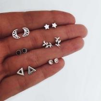 Simple Style Crescent Star Leaf Shaped Stud Earring Set 6 Pair/Set