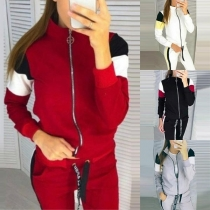 Fashion Contrast Color Long Sleeve Sweatshirt Coat + Pants Sports Suit