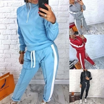 Fashion Contrast Color Stand Collar Sweatshirt + Pants Two-piece Set