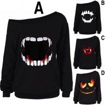 Chic Style Tooth Printed Long Sleeve Oblique Shoulder Sweatshirt