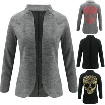 Chic Style Skull Head Printed Stand Collar Thin Jacket