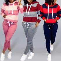 Fashion Long Sleeve Hooded Striped Sweatshirt + Pants Two-piece Set