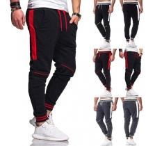 Fashion Contrast Color Drawstring Waist Man's Sports Suit