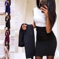Stilvolle elegante dünne Damen Zweiteiler mit Langcardigan und Minikleid