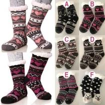 Fashion Printed Plush Lining Knit Socks