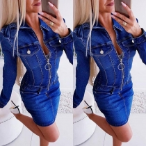 Jeanskleid Hemd-Jeans-Kleid aus angesagtem Retro-Denim
