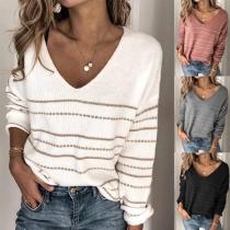 Strickpullover V-Ausschnitt-Pullover im Streifenmuster