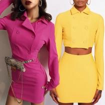 Sexy Long Sleeve POLO Collar Crop Top + Skirt Two-piece Set