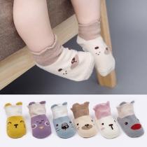 Cute Cartoon Printed Contrast Color Baby Floor Socks -2 pairs/Set