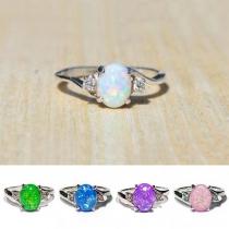 Fashion Colored Imitation Gem Inlaid Alloy Ring
