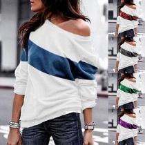 Sweatshirt mit breitem Rundhalsausschnitt und Streifen