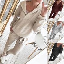 Stylische Damen Zweiteiler mit Kapuzensweatshirt und Sweatpant