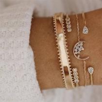 Fashion Rhinestone Inlaid Alloy Bracelet Set 4 pcs/Set